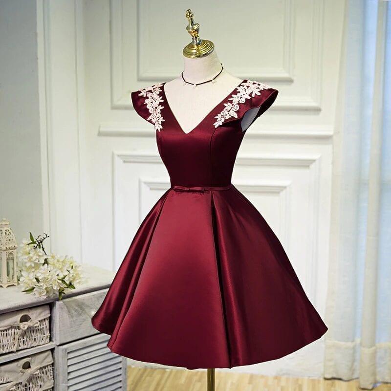 Beading Sequins Cap Sleeve Satin Lace Evening Dress
