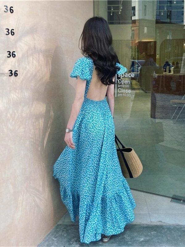 Elegant Boho V Neck Backless Floral Print Dress