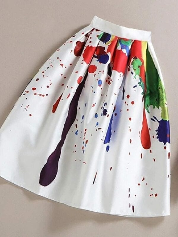Graffiti Print High Waist Midi Skirt