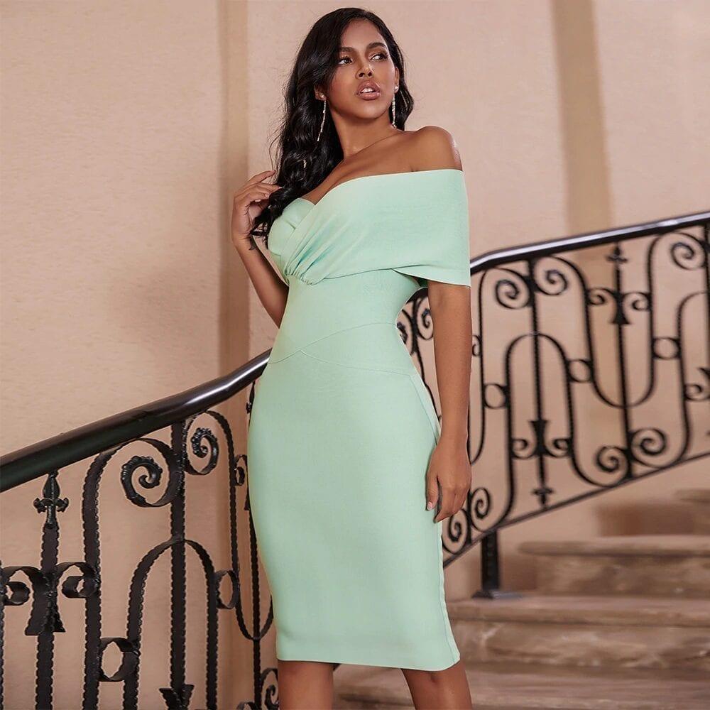 Draped Green Slash Neck Bandage Dress