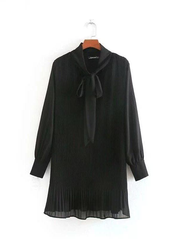 Elegant Bow Collar Pleated Black Mini Dress