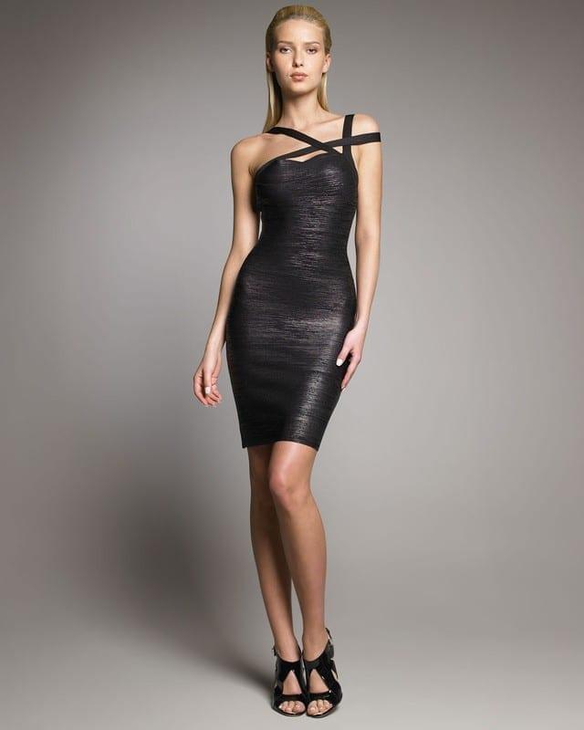 Black Spaghetti Strap Backless Bandage Mini Dress