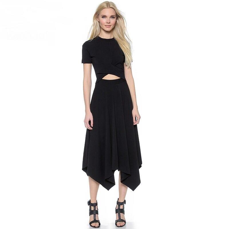 O-neck Short Sleeve Hollow Out Irregular Dress