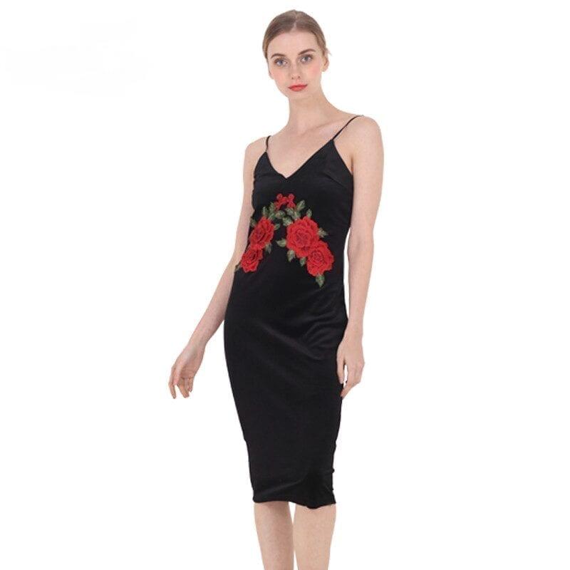 Red Flower Embroidered Black Velvet Shoulder-straps Bodycon Dress