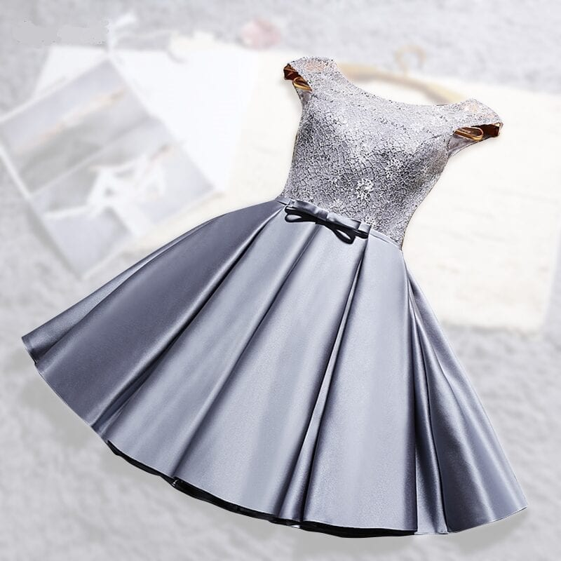 O-neck Lace Satin Short Off The Shoulder Bridesmaid Dress