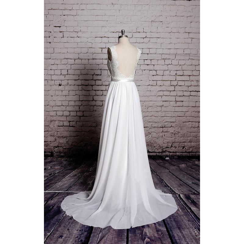 Elegant V-neck Lace And Satin Court Train With Backless Floor-length Wedding Dress