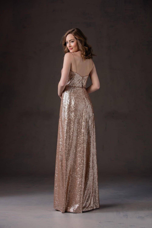 Spaghetti Straps Floor Length Maid Of Honor Coffee Sequins Bridesmaid Dress