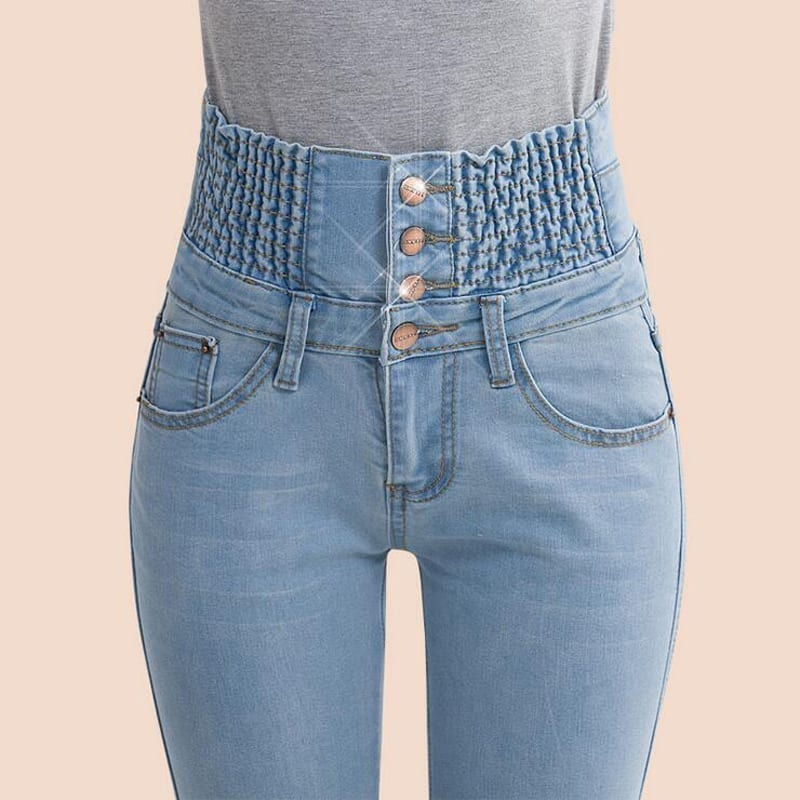 High Waist Elastic Skinny Denim Long Pencil Pants