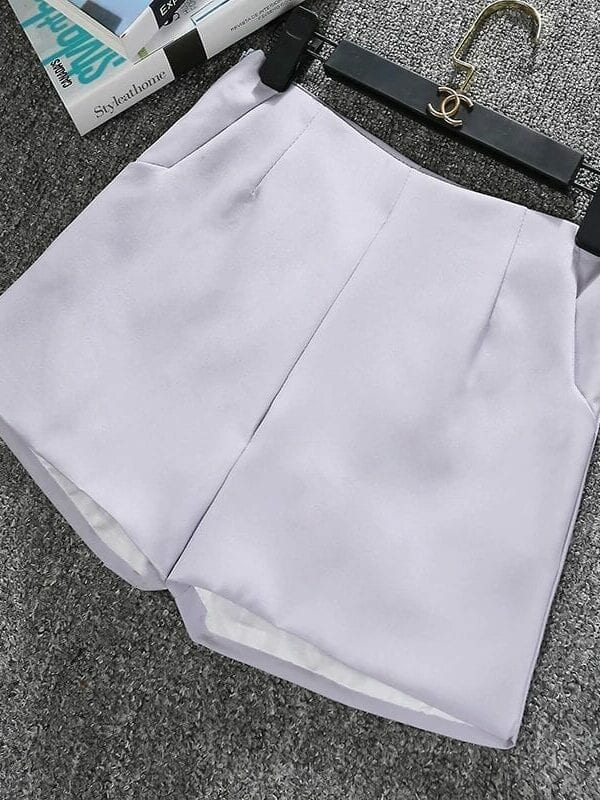 Black Gray White High-waisted Shorts