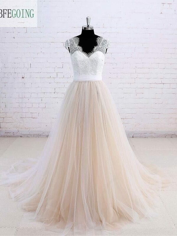 Ivory Floor Length Tulle V-neck Cap Sleeve A Line Lace Wedding Dress