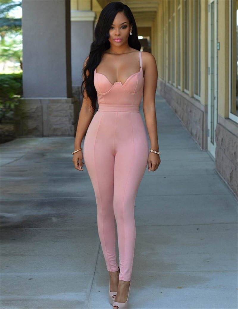 Backless Bandage Smooth Wetlook Tight-fitting Cute Faux Leather Jumpsuit