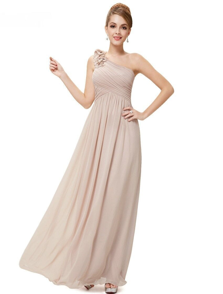 One Shoulder Floral Padded Chiffon Bridesmaid Dress