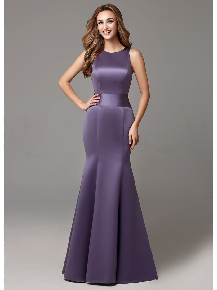 Sleeveless High Neck Big Bows Sweep Train Long Bridesmaid Dress ...
