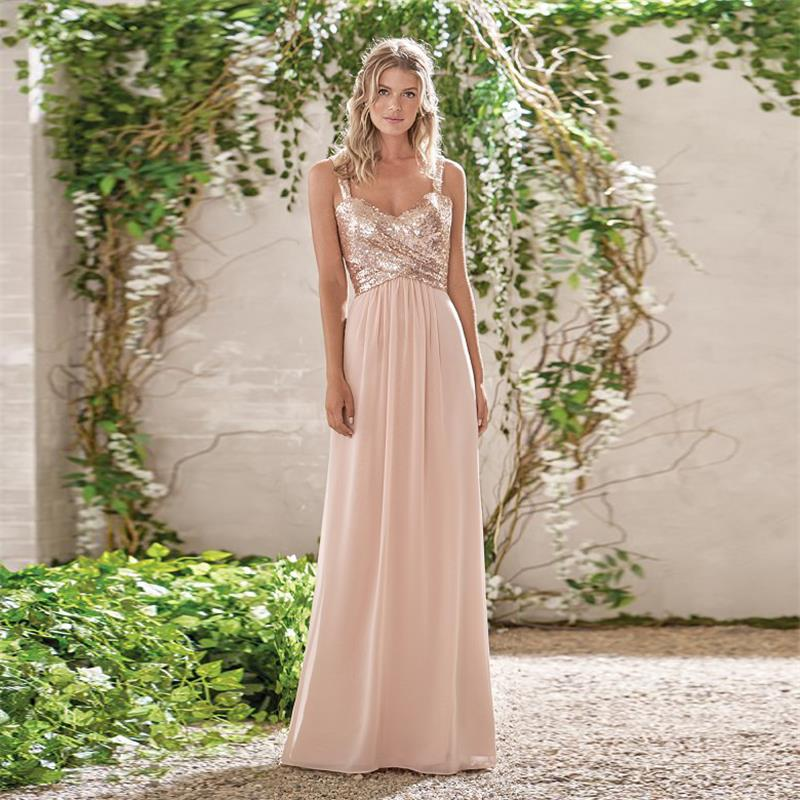 Rose gold a line spaghetti straps backless sequins chiffon maid of rose gold a line spaghetti straps backless sequins chiffon maid of honor bridesmaid dress junglespirit Image collections