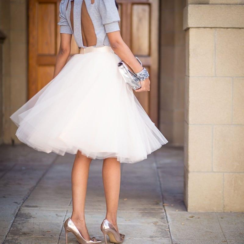 Puffy 7 Layers Tulle Hidden Zipper High Waisted Tutu Pleated Skirt