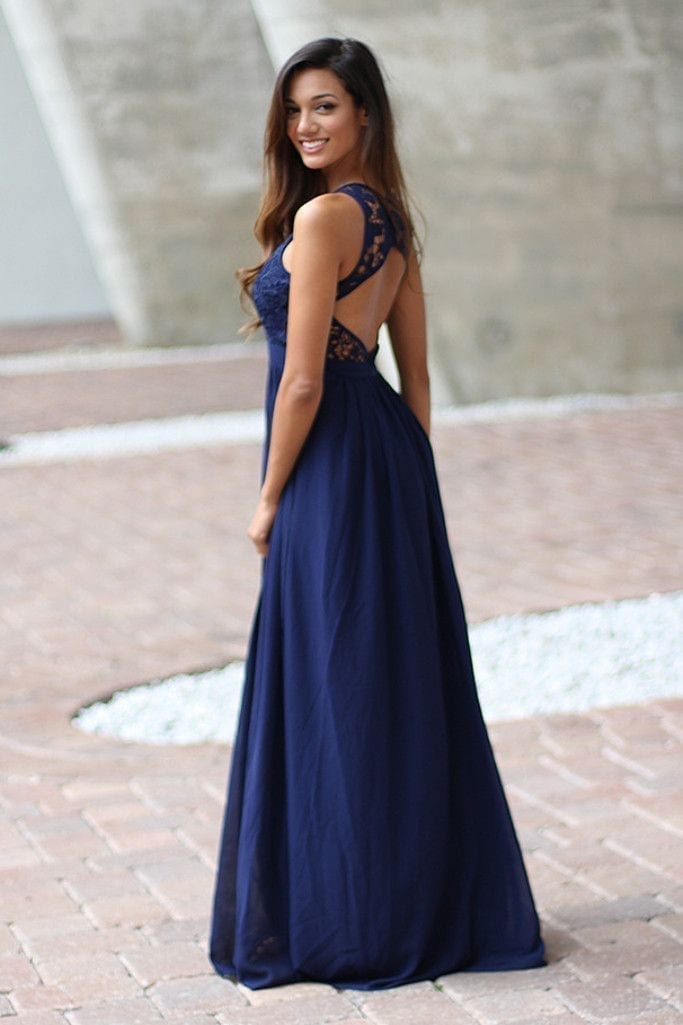 Elegant navy blue crochet maxi bridesmaid dress with open for Navy maxi dresses for weddings