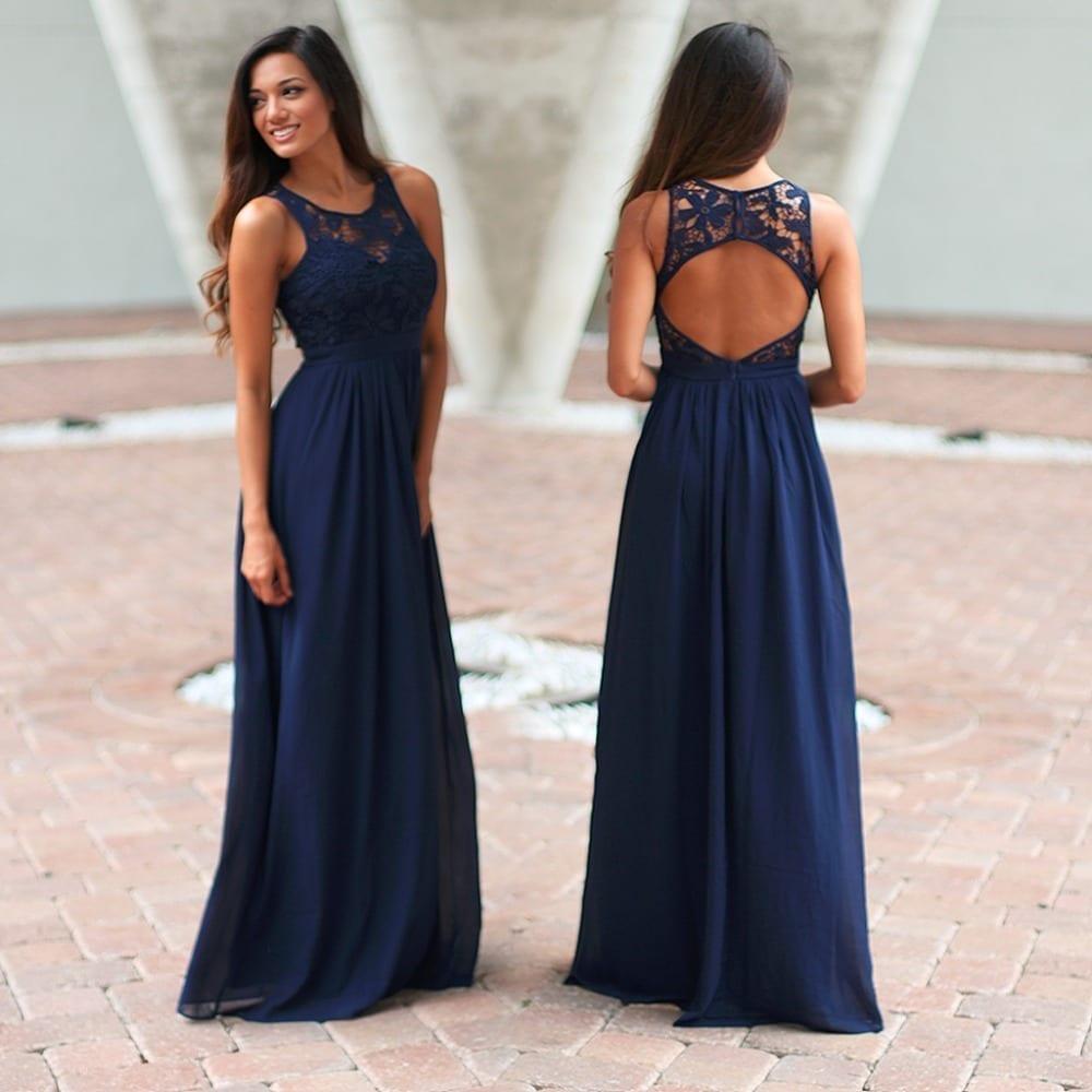Elegant navy blue crochet maxi bridesmaid dress with open back elegant navy blue crochet maxi bridesmaid dress with ombrellifo Choice Image