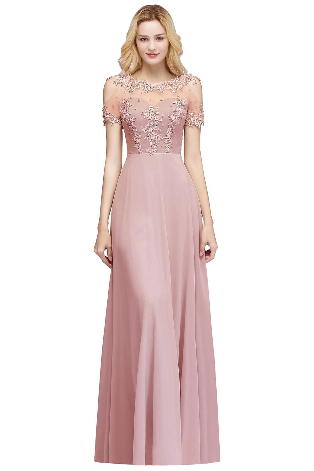 Scoop Neck Applique Chiffon Long Bridesmaid Dress