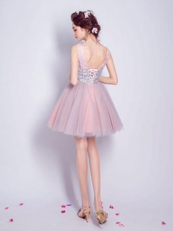 Gray Pink Contrast Sequined Short V-neck Graduation Dress