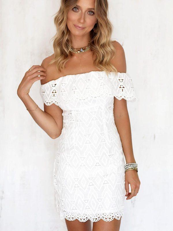 Off The Shoulder White Boho Lace Dress