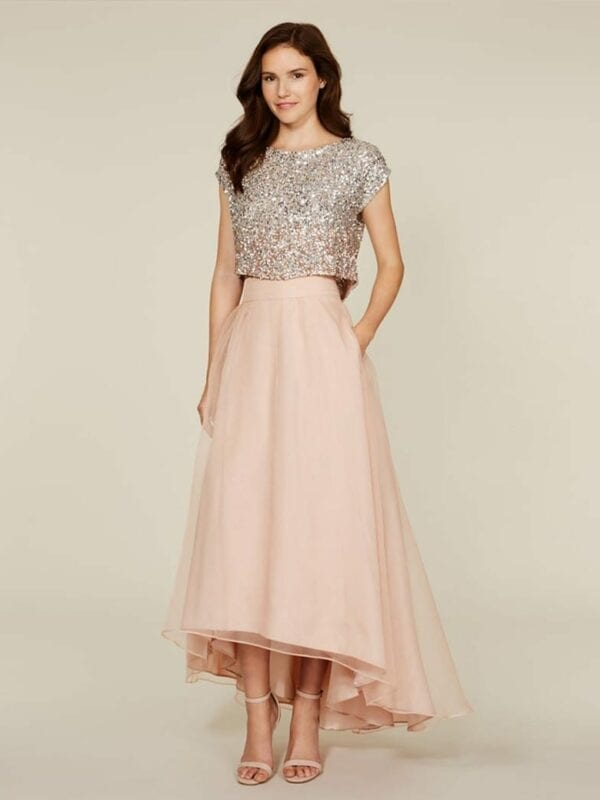 Sparkly Blingbling Two Piece Blush Pink High Low Bridesmaid Dress