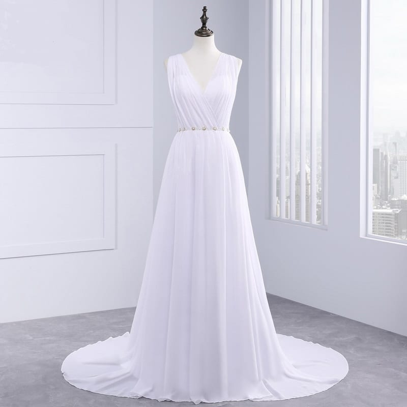 Greek Style Chiffon Open Back Sleeveless Floor Length Wedding Dress