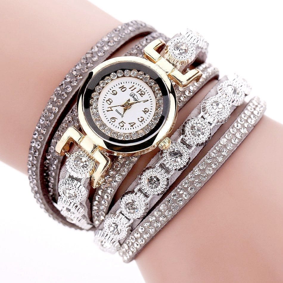 Crystal Round Dial Luxury Wrist Watch