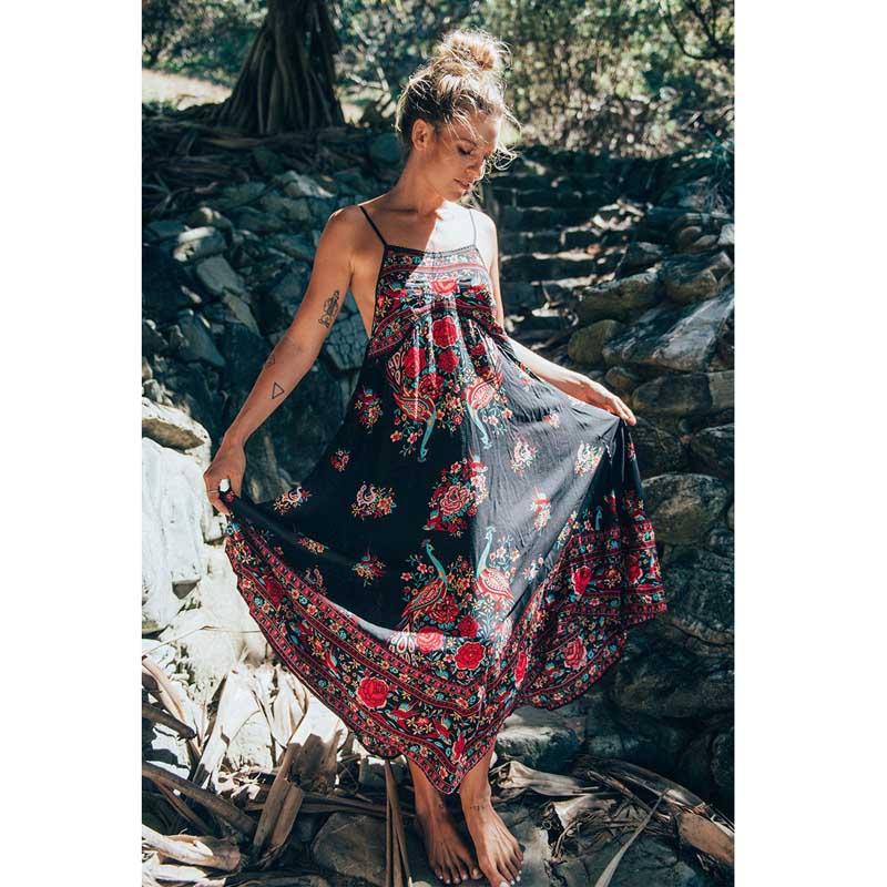Sleeveless Loose Bohemia Hippie Ethnic Retro Print Vintage Beach Dress