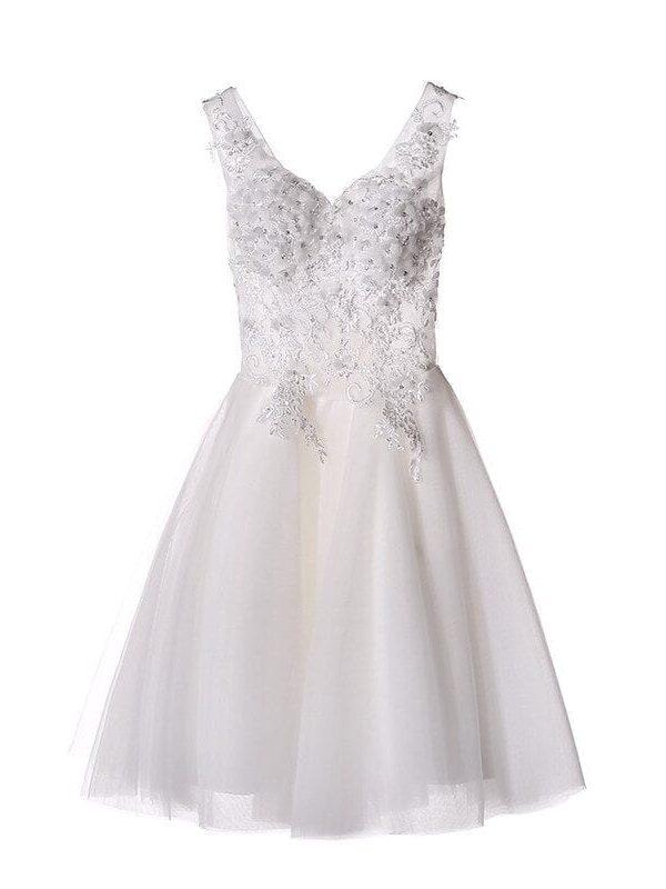 Elegant White Lace Short Wedding Dress