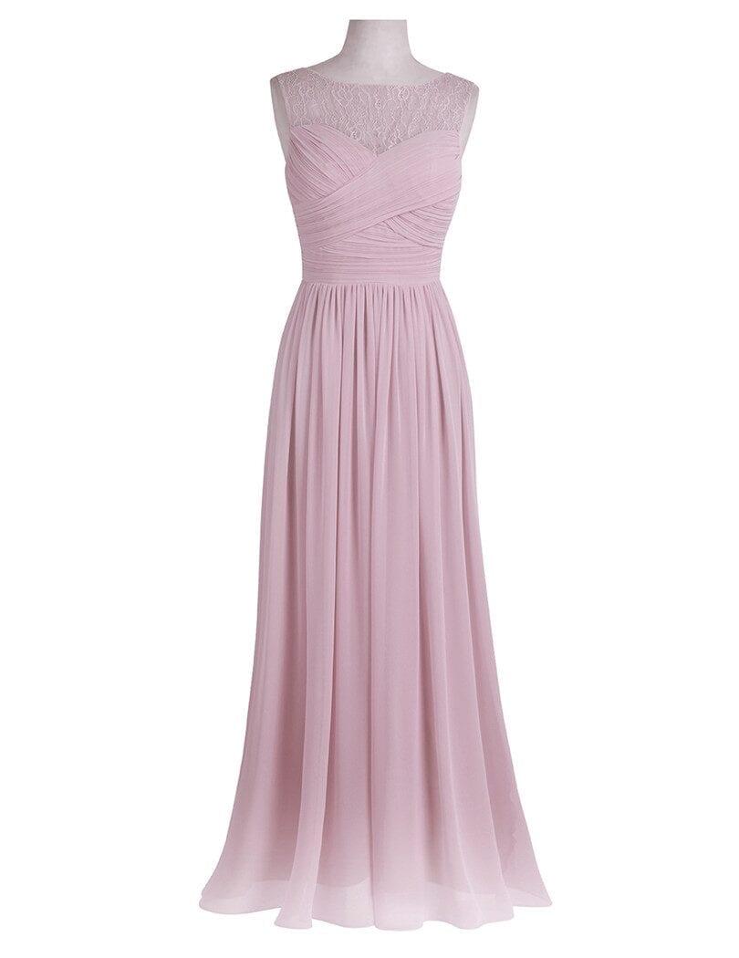 Unique Lace Chiffon Long Bridesmaid Dress