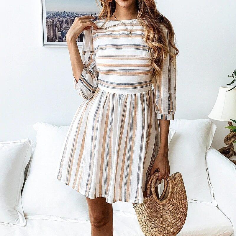 Elagant Striped O-neck Beach Mini Dress