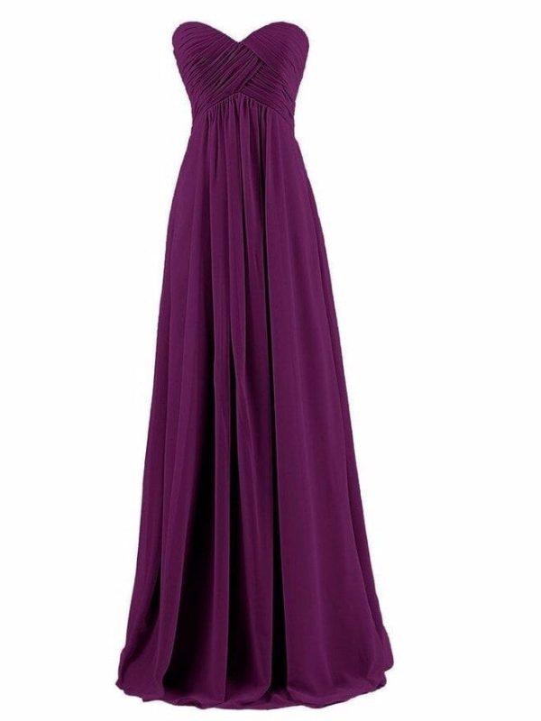 Elegant Chiffon Pleat Long Bridesmaid Dress