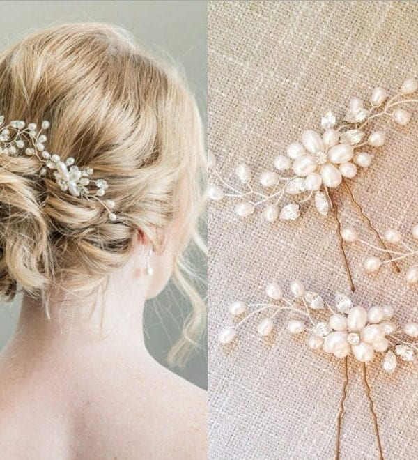 Pearl Flower Hair Pin Stick Bride Hair Jewelry (3 Pieces)