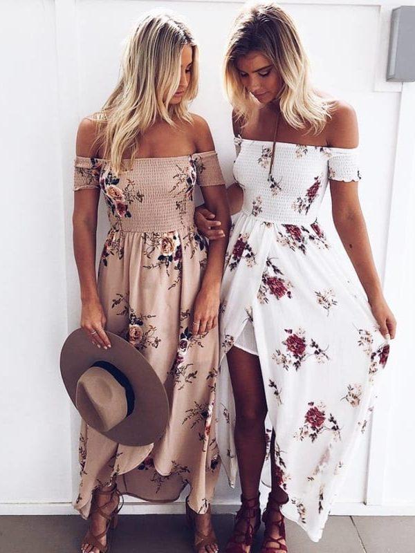 Boho Vintage Off Shoulder Floral Print Chiffon Beach Maxi Dress
