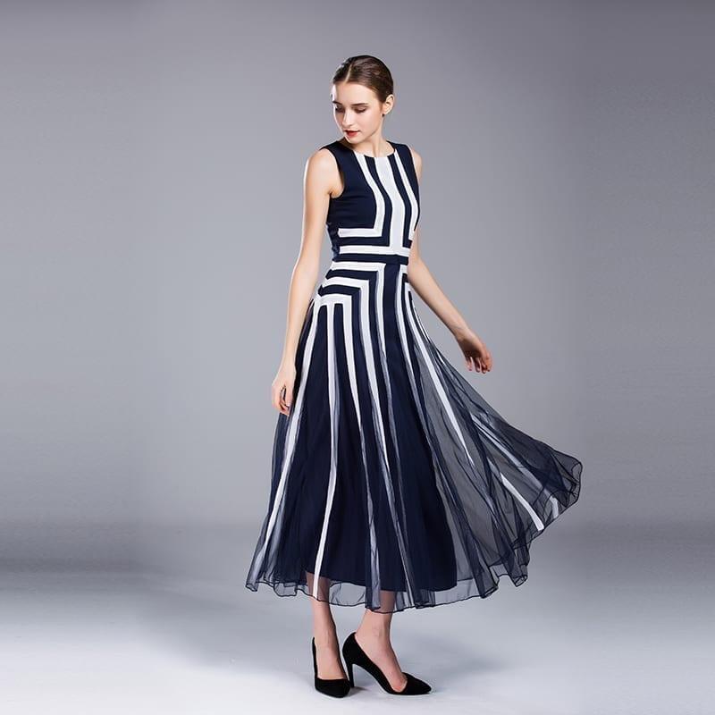 Blue White Stripe Sleeveless Summer Maxi Dress