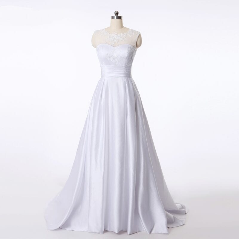 Elegant A-line Ivory White Satin Princess Wedding Dress