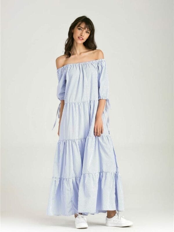 Blue And White Striped Short Sleeve Off Shoulder Cotton Lace Up Maxi Dress