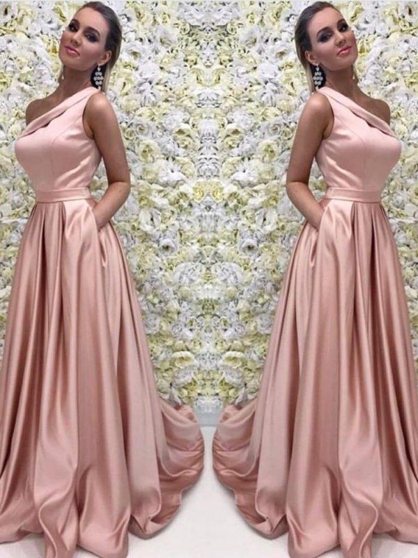 Elegant A Line Pink One Shoulder Satin With Belt Long Evening Dress