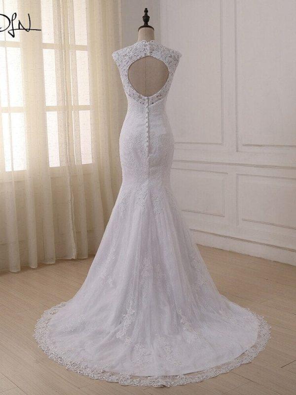 V-neck Backless Appliques Lace Mermaid Wedding Dress