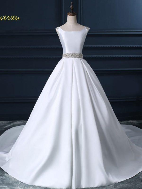 Beaded Sashes Pearls A-line Sleeveless Satin Vintage Wedding Dress