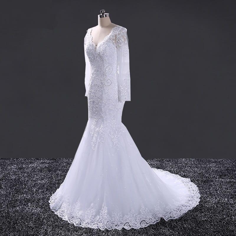 Elegant Lace Long Sleeve Mermaid Wedding Dress