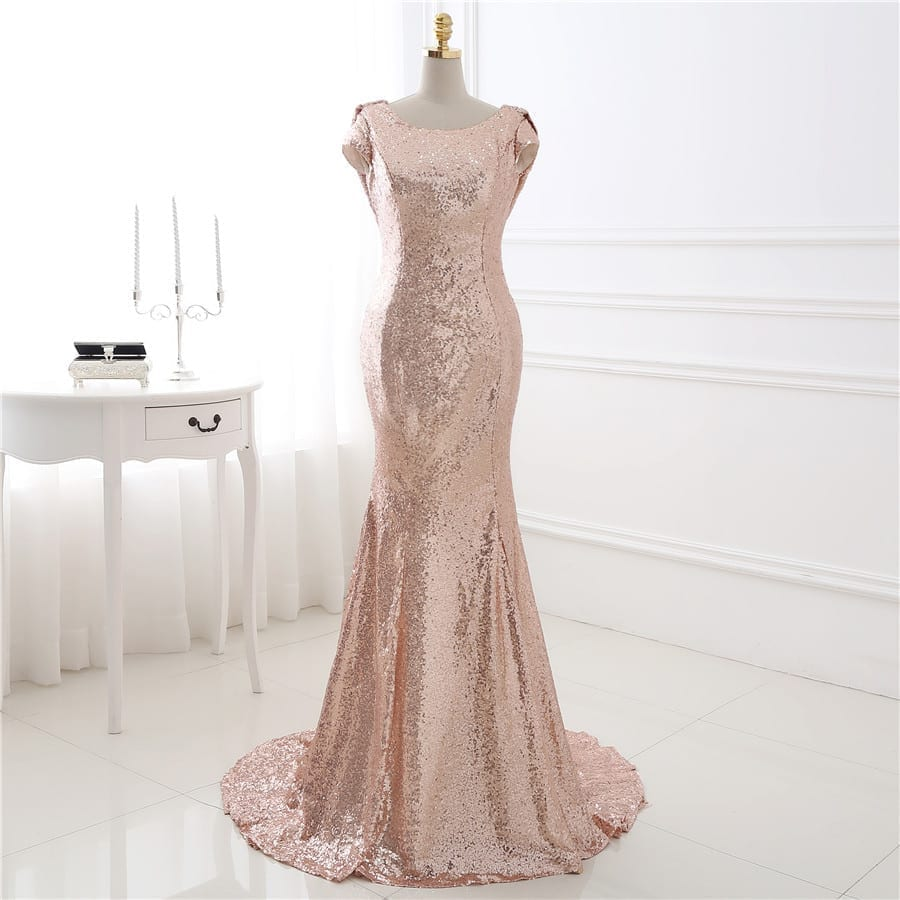 Elegant sequin short sleeves bridesmaid dress for Shop short wedding dresses