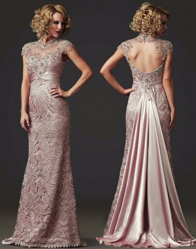 Beaded High Neck Long Mermaid Lace Evening Mother Of The Bride Dress