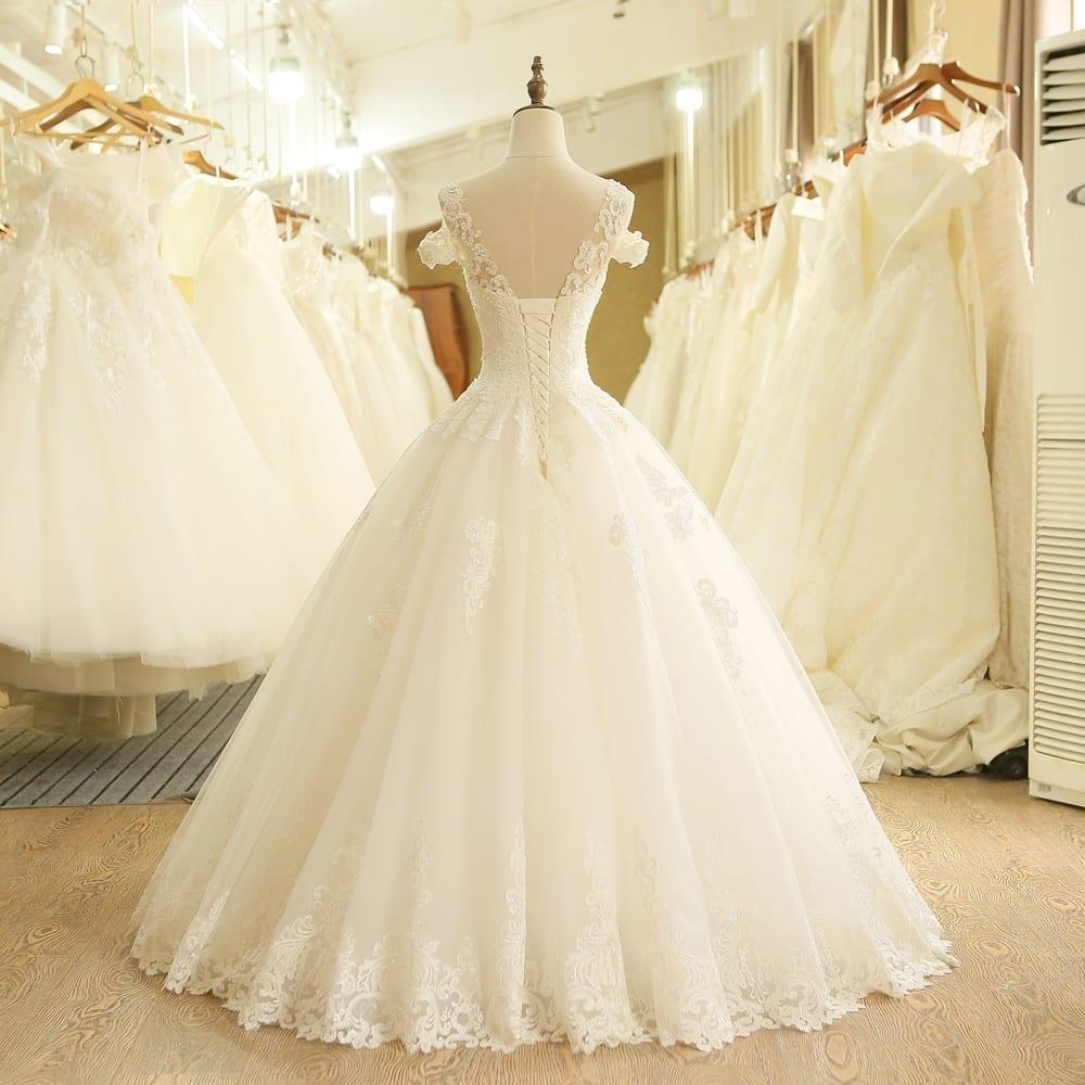 Ivory Vintage Lace Beaded Wedding Dress