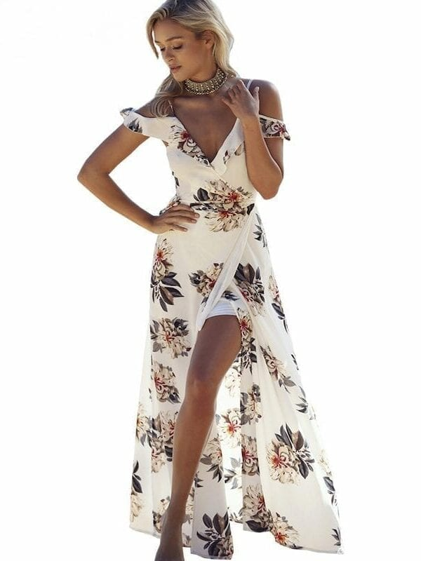 Floral Print Ruffles Chiffon Maxi Dress