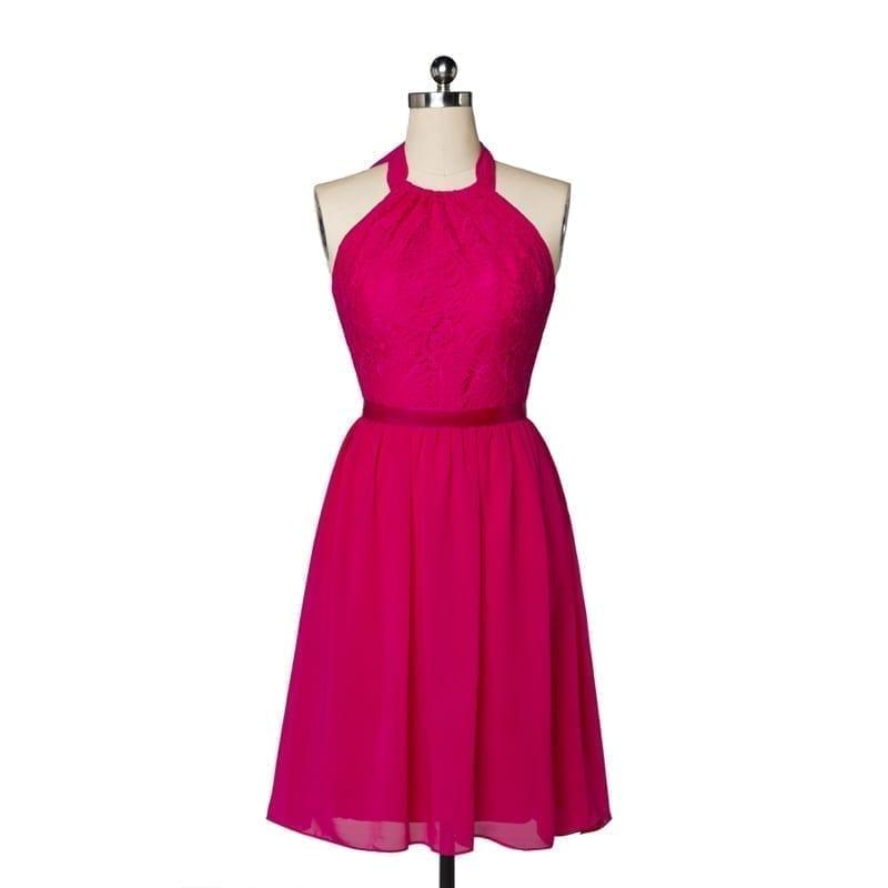 Elegant Rose Red Lace Backless Short Evening Bridesmaid Dress