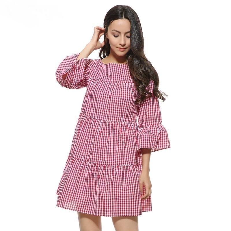 Elegant Checkered Flare Sleeve Loose Summer Dress