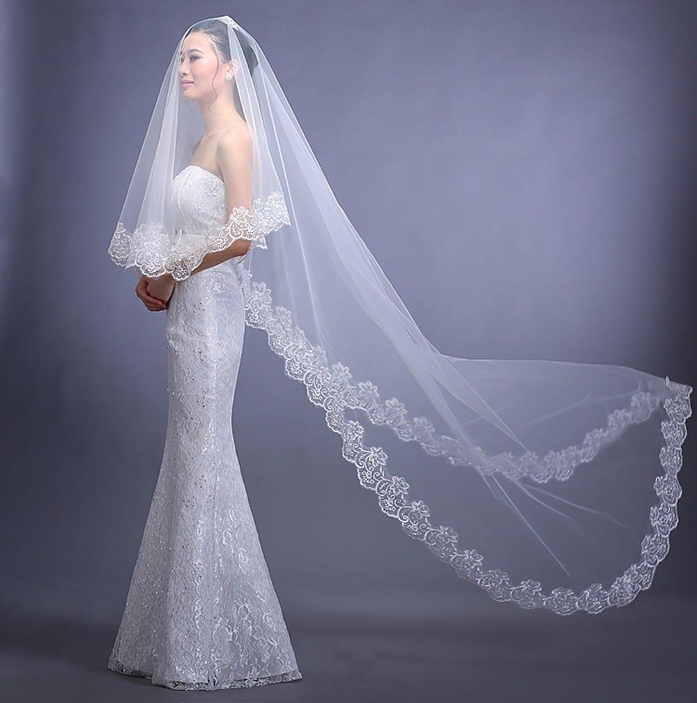 Elegant Appliques Tulle 3 Meters Long Wedding Veil ...