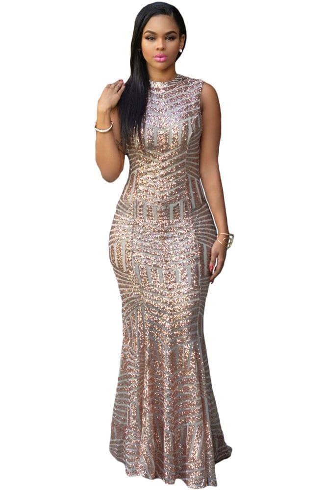 Blush Sequins Keyhole Back Elegant Dress