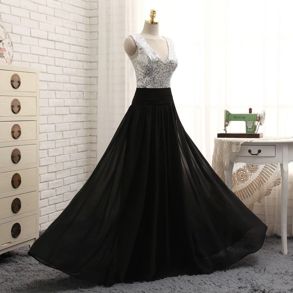 A line deep v neck black chiffon sequins long bridesmaid dress a line deep v neck black chiffon sequins long bridesmaid dress ombrellifo Choice Image